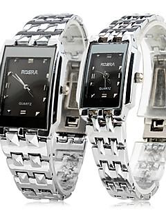 Heren Dames Voor Stel Dress horloge Polshorloge Kwarts / Roestvrij staal Band Vrijetijdsschoenen Zilver Zilver