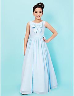 Vestido de Dama de Honor Junior - Azul cielo Corte A/Corte Princesa Escote A la Base Hasta el Suelo Gasa/Satén Elástico