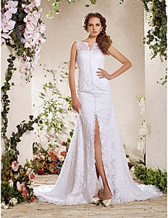 Lanting Bride® A-line / Princess Petite / Plus Sizes Wedding Dress - Elegant & Luxurious Fall 2013 / Lacy Looks Chapel Train V-neck Lace