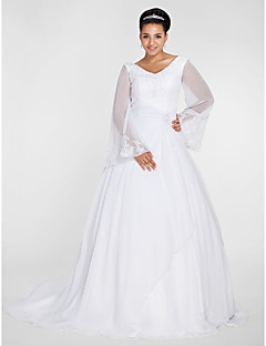 Lanting Ball Gown V-neck Chapel Train Chiffon Plus Size Wedding Dress