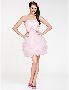 Lanting Bride Short / Mini Organza Bridesmaid Dress A-line / Ball Gown Strapless Plus Size / Petite withBow(s) / Pick Up Skirt / Criss