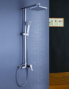 コンテンポラリー シャワーシステム レインシャワー ハンドシャワーは含まれている with  セラミックバルブ 三つ シングルハンドル三穴 for  クロム , シャワー水栓