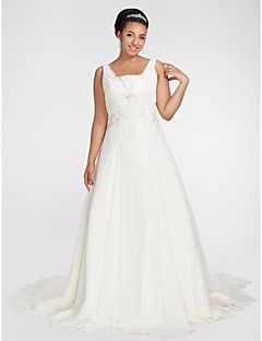 A-line Plus Sizes Wedding Dress - Ivory Chapel Train Square Chiffon
