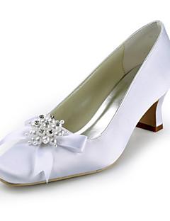 calcanhar de cetim grossa com sapatos bowknot / imitação de pérolas / strass casamento (mais cores)