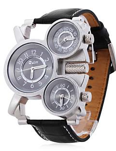 Oulm 男性 軍用腕時計 リストウォッチ 3タイムゾーン クォーツ 日本産クォーツ レザー バンド ブラック
