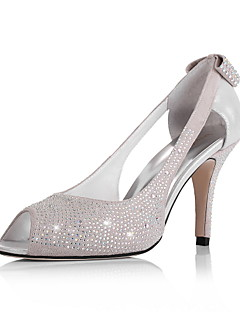 couro superior stiletto peep toe salto com strass / bowknot no calcanhar sapatos da moda