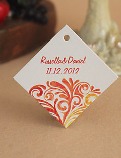 Personalized Rhombus Favor Tag - Red Floral (Set of 30)