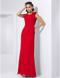 Formal Evening/Prom/Military Ball Dress - Ruby Plus Sizes Sheath/Column Jewel Floor-length Chiffon