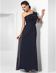 Formeller Abend / Militär Ball Kleid - Elegant Eng anliegend Ein/Schulter Boden-Länge Chiffon mitPerlstickerei / Blume(n) / Kristall