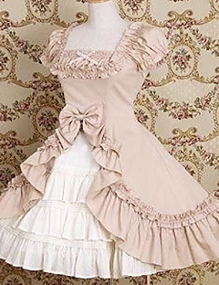 Short Sleeve Knee-length Cotton Bow and Ruffle Princess Lolita Dress