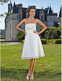 Lan Ting A-line/Princess Wedding Dress - Ivory Knee-length Strapless Lace