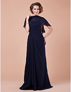 A-line Plus Size / Petite Mother of the Bride Dress - Wrap Included Floor-length Sleeveless Chiffon with Criss Cross / Side Draping