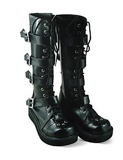 Handmade Cool Black PU Leather 3.5cm Platform Punk Lolita Boots