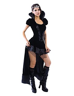 Sexy Retro Queen Black Dress Halloween Costume(2Pieces)