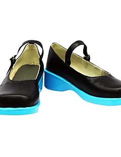 נעלי קוספליי Vocaloid Hatsune Miku אנימה נעלי קוספליי שחור / כחול PU עור נקבה