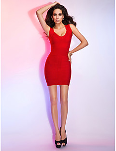 TS Couture® Cocktail Party / Holiday Dress - Ruby Petite Sheath/Column V-neck Short/Mini Rayon