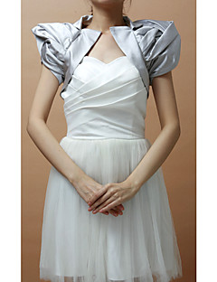 Wedding  Wraps Shrugs Short Sleeve Satin Silver Party/Evening Puff Sleeves Open Front
