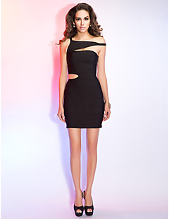 Cocktail Party/Holiday Dress - Black Sheath/Column Short/Mini Rayon