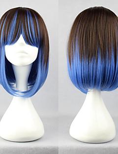lolita paryk inspireret af brun og blå blandet farve 40cm punk