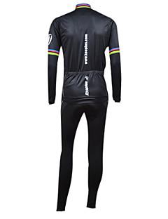 KOOPLUS® חולצת ג'רסי וטייץ ביב לרכיבה לגברים שרוול ארוך אופניים נושם / שמור על חום הגוף / עמיד / בטנת פליז / לבישטייץ רכיבה על אופניים /