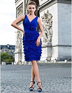 Cocktail Party Dress - Royal Blue Plus Sizes Sheath/Column V-neck Knee-length Chiffon
