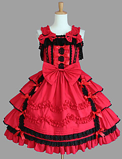 Sleeveless Knee-length Red Cotton Aristocrat Lolita Dress
