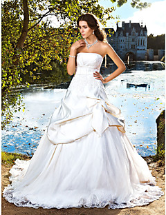 Lanting Bride® Ball Gown Petite / Plus Sizes Wedding Dress - Classic & Timeless / Elegant & Luxurious Chapel Train Strapless Satin