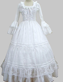 Manga larga palabra de longitud Cotton White Princess Lolita vestido