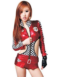Skinny Geruit Rood Lederen Fase Kostuums (2 stuks)