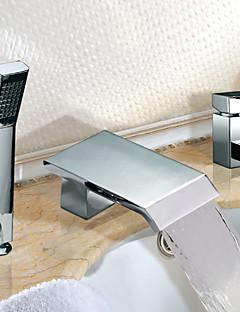 現代風 ローマンバスタブ 滝状吐水タイプ ワイドspary ハンドシャワーは含まれている with  セラミックバルブ 二つのハンドル三穴 for  クロム , 浴槽用水栓