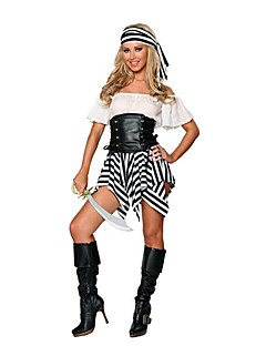 Fancy Stripes Spandex With Leather Corset Pirate Costumes