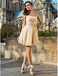 Homecoming Cocktail Party Dress - Champagne Plus Sizes A-line/Princess Sweetheart/Strapless Knee-length Chiffon