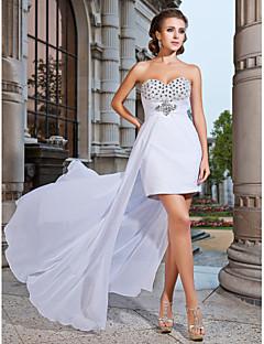 Bainha / coluna strapless sweetheart curto / mini vestido de noite de chiffon assimétrico com beading by ts couture®