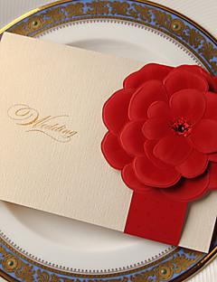 """Seitlich gefaltet Hochzeits-Einladungen Einladungskarten Klassicher Stil / Blumiger Stil Kartonpapier 7 1/5""""×5"""" (18.4*12.8cm)"""
