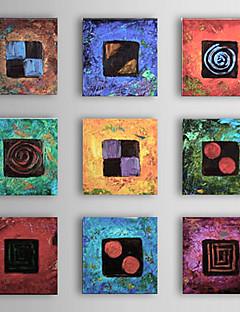 met de hand geschilderde abstracte olieverf met gestrekte frame - set van 9