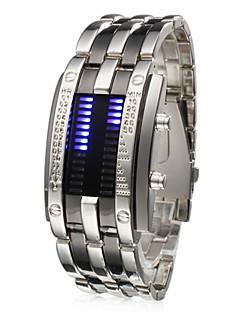 Erkek Bilek Saati Benzersiz Yaratıcı İzle Dijital LED Takvim Paslanmaz Çelik Bant Gümüş Gümüş