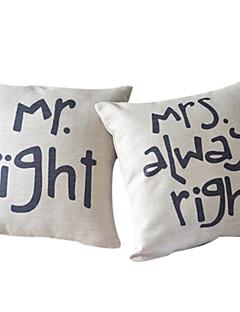 set de 2 romantisme de coton couple / taie d'oreiller linge décoratif