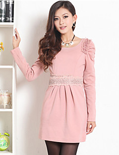 PRENAIR Lace Strass-Dekor Pleats Puff Sleeve Dress (mehr Farben)