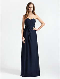 Sheath / Column Strapless Sweetheart Floor Length Chiffon Bridesmaid Dress with Flower(s) Criss Cross by LAN TING BRIDE®