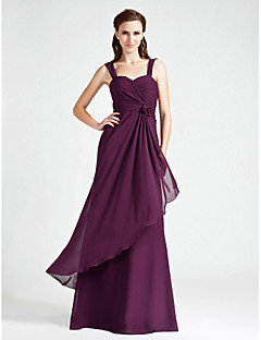 Lanting Bride® Floor-length Chiffon Bridesmaid Dress A-line / Princess Sweetheart / Straps Plus Size / Petite withFlower(s) / Criss Cross