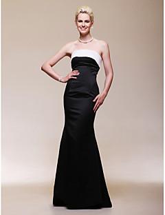 Formal Evening Dress - Black Plus Sizes Trumpet/Mermaid Strapless Floor-length Satin