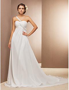 Lanting Bride A-line / Princess Petite / Plus Sizes Wedding Dress-Court Train One Shoulder Chiffon