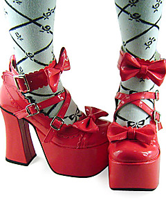 Handmade Red PU Leather 12cm High Heel Sweet Lolita Shoes with Bow