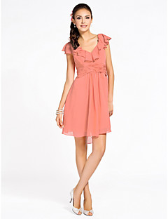 Cocktail Party / Homecoming / Wedding Party Dress - Watermelon Petite Sheath/Column V-neck Knee-length Chiffon