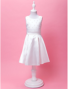 A-Lijn/Prinses Knie-Lengte Bloemenmeisje jurk - Satijn Mouwloos