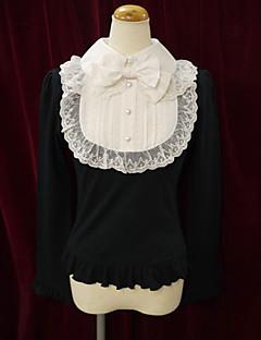 Top o camicia Dolce Lolita Cosplay Vestiti Lolita Rosa Nero Bianco Collage Manica lunga Lolita Camicia Per Cotone