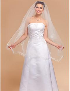 Voal de Nuntă Un nivel Voaluri Lungime Până la Vârfurile Degetelor 98.43 in (250cm) Tul IvoriuA-line, Rochie de Bal, Prințesă, Foaie/