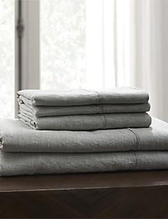 """einfach&opulence® Spannbetttuch, 100% Leinen solide grau bis 15 """"tief"""