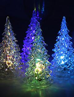 akryl vinyl juletræ LED lampe - sæt af 4 (farve skiftende, indbygget rangstige celle)
