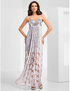 Formal Evening / Military Ball Dress - Silver Plus Sizes / Petite Sheath/Column Sweetheart / Spaghetti Straps Floor-length Sequined / Lace